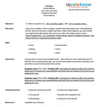 Another Picture Of Blank Resume Template Printable