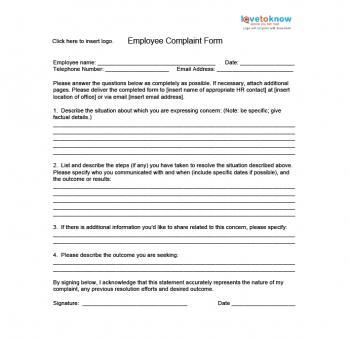 Hr Complaint Form | Nice Sample Employee Complaint Form Photos Complaints Letter