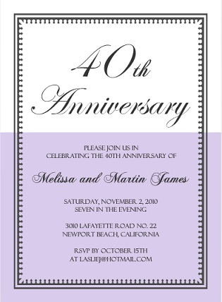 business cards ups lavender and white vintage 40th anniversary invite