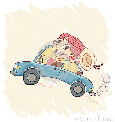 fast business cards happy girl driving car cartoon waving hat 59403227