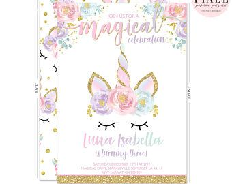 By Lijicinu F9 48fda Unicorn Birthday Invitation Magical Floral Whimsical Dreamy Face Pink Gold