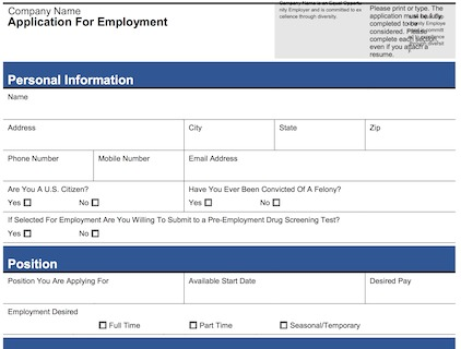 free printable application for employment template business card