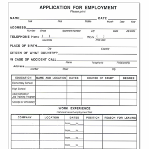 free printable employment applications templates business card