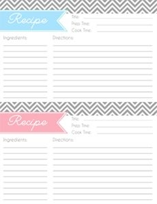 free printable full page recipe templates