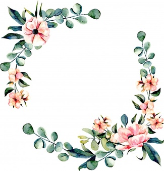 free printable funeral templates wreath frame pink flowers and eucalyptus branches 3470 74