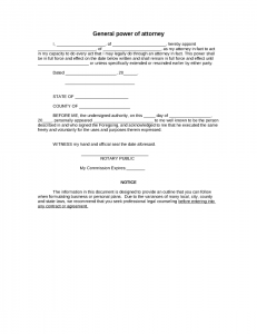 free printable power of attorney template