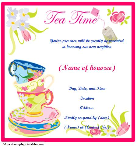 Free Printable Tea Party Invitation Templates Business Card