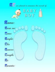 Baby Announcement Template | Baby Boy Announcements Templates Gure Kubkireklamowe Co