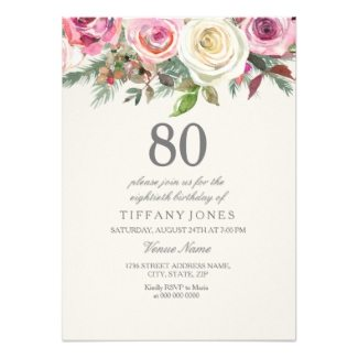 By 80thbirthdayideas Wp Content Uploads 2018 04 80th Birthday Floral Party Invitations For Women