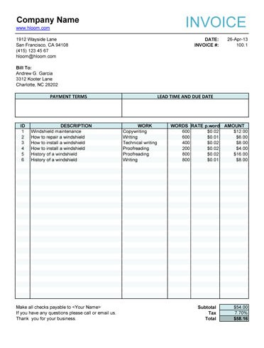 Printable Invoice Templates - Business Card - Website