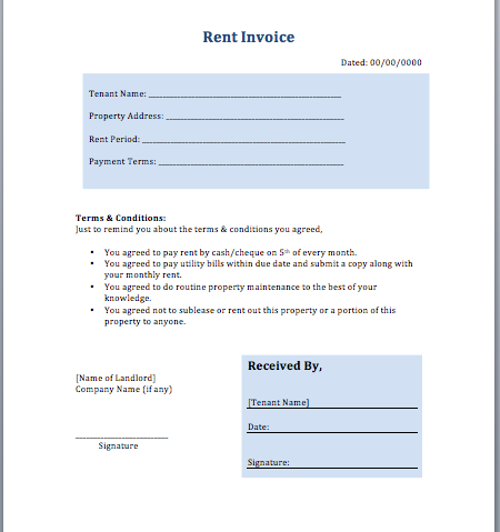 printable lease agreement template rent invoice template