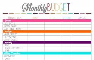 printable monthly budget planner template business card website