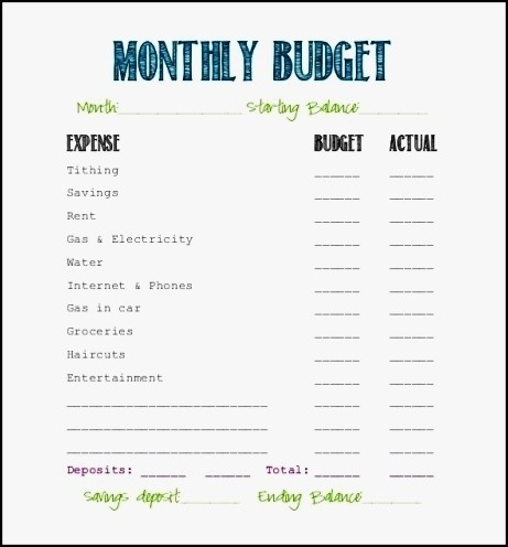 printable monthly budget template business card website