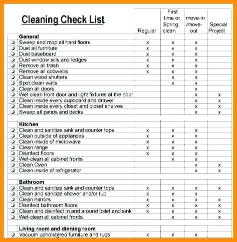 blank house cleaning checklist - 473×484