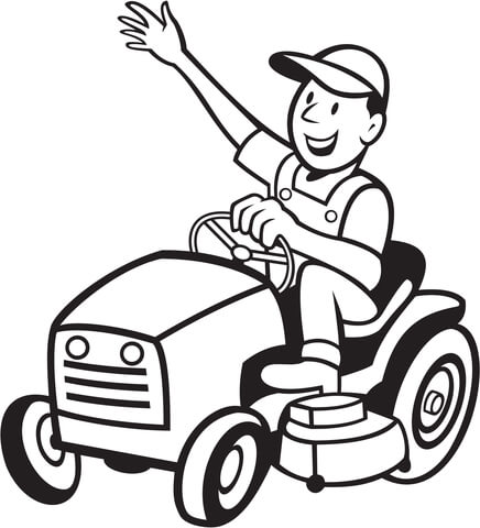 printable tags template farmer riding a tractor mower coloring page
