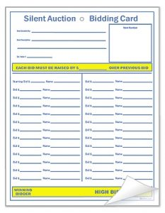 silent auction bid sheets templates